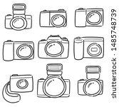 vector set of camera cartoon   Shutterstock .eps vector #1485748739