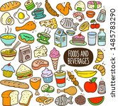 food and beverages doodle... | Shutterstock .eps vector #1485783290