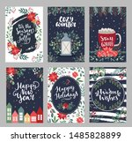 set of merry christmas greeting ... | Shutterstock .eps vector #1485828899