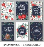 set of merry christmas greeting ... | Shutterstock .eps vector #1485830060