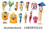 school supplies cartoon...   Shutterstock .eps vector #1485893210