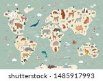 animals of the world vector map ... | Shutterstock .eps vector #1485917993