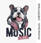 music slogan with happy dog on... | Shutterstock .eps vector #1485947666