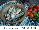 Stock photo baltic herring seafood salted herring fish in a bowl with spices and herbs wood background 1485957230