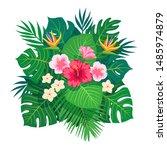 summer tropical leaves vector... | Shutterstock .eps vector #1485974879
