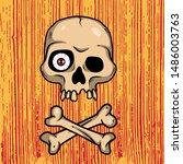 vector creepy art with skull... | Shutterstock .eps vector #1486003763