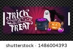 trick or treat  greeting pink...   Shutterstock .eps vector #1486004393