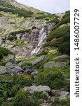 Mountain Waterfall In High...
