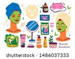 skin care routine icons.... | Shutterstock .eps vector #1486037333