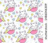 hand drawn kitten mermaid... | Shutterstock . vector #1486046309