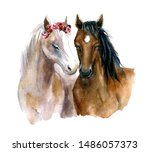 Watercolor Cute Horses With...