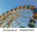 Old Wonder Wheel from times of USSR in Zaporozhye city, Ukraine