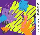 memphis seamless pattern.... | Shutterstock .eps vector #1486102133