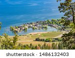 A view of Green Bay subdivision and Okanagan Lake from Mount Boucherie in West Kelowna British Columbia Canada in the summer