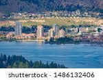 A view of the Kelowna Skyline and Okanagan Lake from Mount Boucherie in West Kelowna British Columbia Canada in the summer