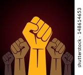 clenched fist held in protest... | Shutterstock .eps vector #148614653