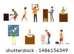cartoon set of man doing... | Shutterstock .eps vector #1486156349
