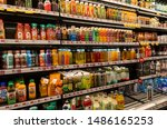 Small photo of New York NY/USA-August 22, 2019 A cooler in a supermarket in New York offers juices, protein shakes, teas water, and almost every other conceivable drink