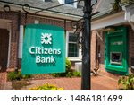 Small photo of Lewes, Delaware / USA - Aug. 19, 2019: Citizens Financial Group, Inc. is an American bank headquartered which operates all along the East Coast. A thunderstorm passes one near Rehoboth Beach.