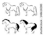 line drawing of a horse on a... | Shutterstock .eps vector #148618280