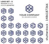 letter x logo set. hexagon... | Shutterstock .eps vector #1486187366