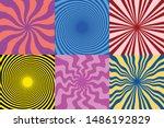 set of 6 twirl swirl sunburst... | Shutterstock .eps vector #1486192829