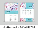 august 2020 template  desk... | Shutterstock .eps vector #1486239293