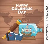 colombus columbus day card with ... | Shutterstock .eps vector #1486275653