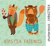 Retro Card With Animals...