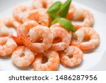 Fresh Shrimps Served On Plate ...