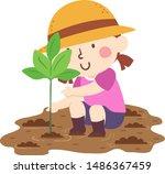 illustration of a kid girl... | Shutterstock .eps vector #1486367459