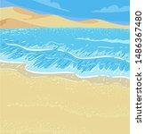 illustration of a coastal... | Shutterstock .eps vector #1486367480