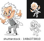 crazy old man professor with... | Shutterstock .eps vector #1486373810