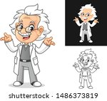confused old man professor with ... | Shutterstock .eps vector #1486373819