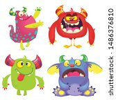 cute cartoon monsters. set of... | Shutterstock .eps vector #1486376810