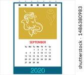 desk calendar 2020 september... | Shutterstock .eps vector #1486380983