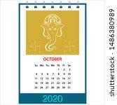 desk calendar 2020 october... | Shutterstock .eps vector #1486380989