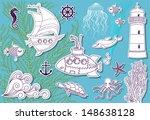 doodle sea   hand drawn set of...   Shutterstock .eps vector #148638128