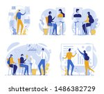 cartoon people in vr headset... | Shutterstock .eps vector #1486382729