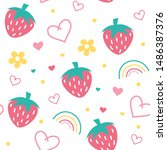 seamless strawberry love...   Shutterstock .eps vector #1486387376