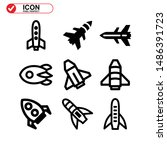 rocket icon isolated sign... | Shutterstock .eps vector #1486391723