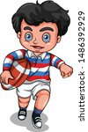 a young boy playing rugby... | Shutterstock .eps vector #1486392929