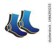socks sign. blue icon with gold ... | Shutterstock .eps vector #1486393253