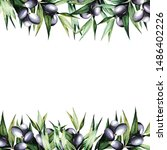 olive branches watercolor...   Shutterstock . vector #1486402226