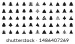 christmas tree silhouette icons ... | Shutterstock .eps vector #1486407269