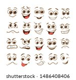 face expression set. vector... | Shutterstock .eps vector #1486408406