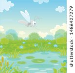 funny grey mosquito flying over ... | Shutterstock .eps vector #1486427279