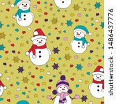 christmas seamless pattern with ... | Shutterstock .eps vector #1486437776