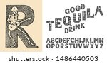antique old font with skeletons ... | Shutterstock .eps vector #1486440503