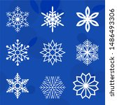 white frosty snowflakes on a... | Shutterstock .eps vector #1486493306